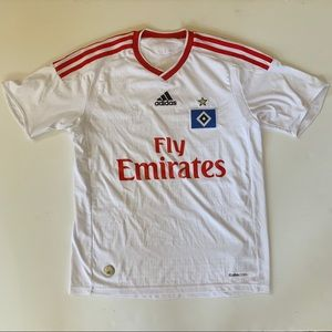 Fly Emirates Adidas Red and White Soccer Jersey